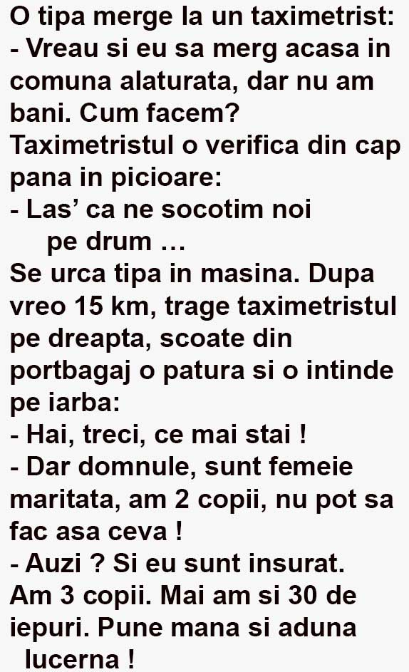 O tipa merge la un taximetrist post